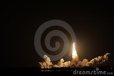 Space Shuttle Endeavour launch at night Editorial Stock Photo