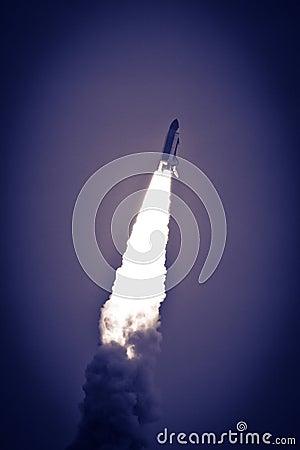 Space shuttle in flight