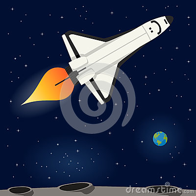 Space Shuttle Flying In The Outer Space Stock Vector ...