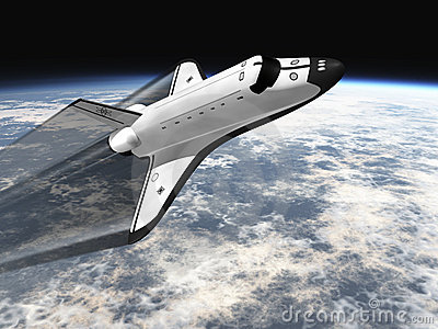 Space shuttle flying over earth