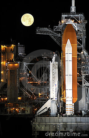 Space Shuttle on launch pad Editorial Photo