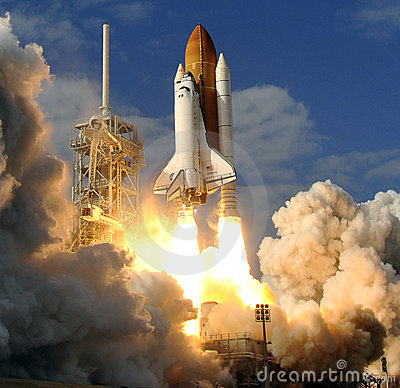 Space shuttle liftoff  Editorial Image