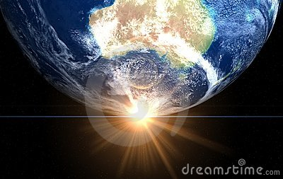 Space sunrise Australia