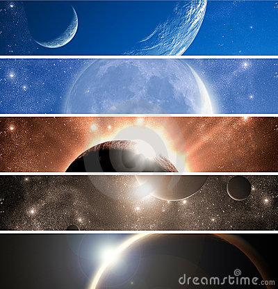 Free Space Theme Banners Set Royalty Free Stock Photos - 14726108