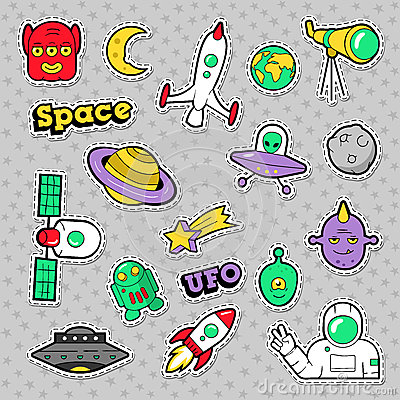 Free Space, UFO, Robots And Funny Aliens Badges, Stickers And Patches Stock Photography - 90729352