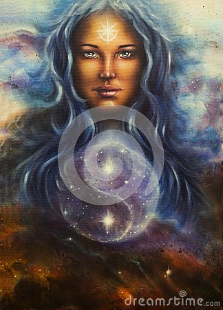 Free Space Woman Goddess Lada As A Mighty Loving Guardian, With Symbo Stock Photography - 50339332
