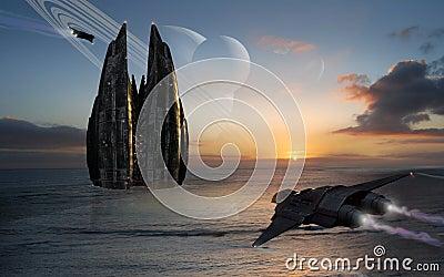 Spacebase on a sea planet