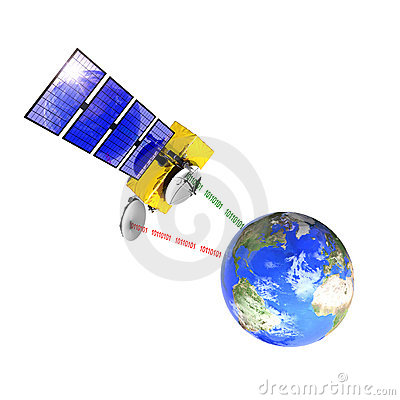 Spacecraft emitting and receiving data from earth