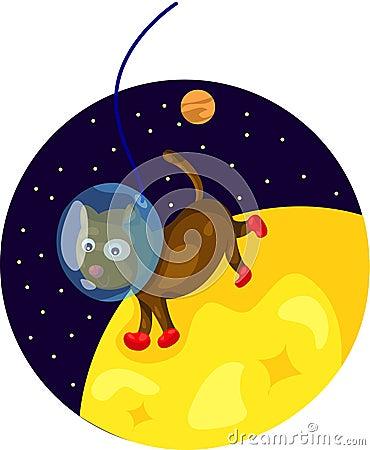Spacedog running on the moon