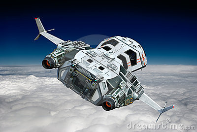 Spaceship above the clouds backside view