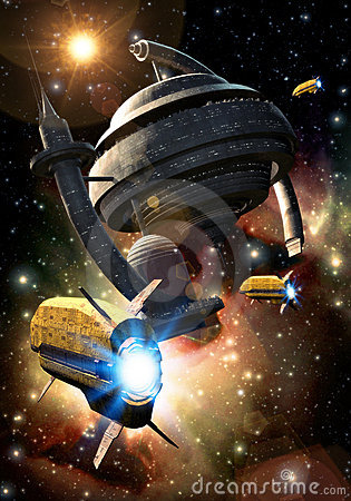 Free Spaceship And Space Station Stock Image - 12412111