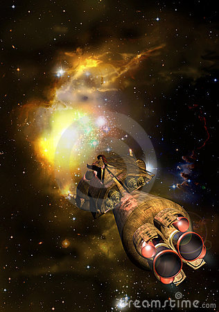 Free Spaceship Approaching A Nebula Stock Images - 19223944