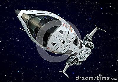 Spaceship closeup upside down stars