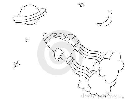 Spaceship colouring page