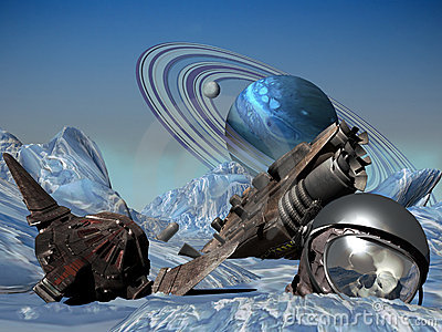 Spaceship Crashed On Ice Planet Stock Photo Image 12859850