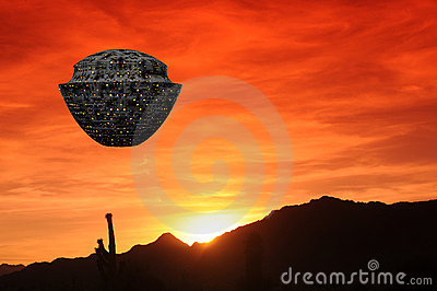 Spaceship Desert Sunset