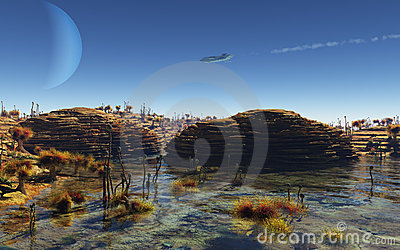Spaceship flying over an alien planet landscape