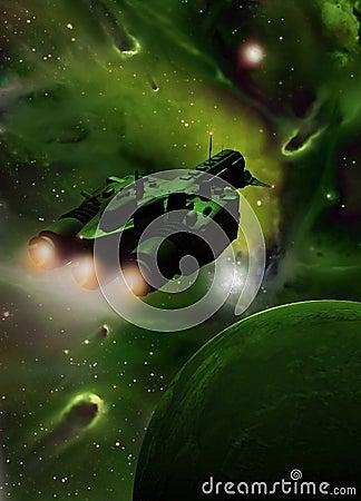 Spaceship into green nebula