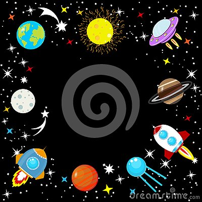 Free Spaceship In Space Among Stars, Planet Earth And Moon, Mars, Jupiter, Moon, UFO. Cartoon Rocket. Children`s Simple Space Frame. C Royalty Free Stock Photos - 129477868