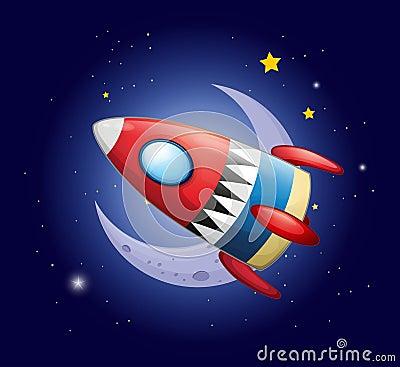 A spaceship near the moon