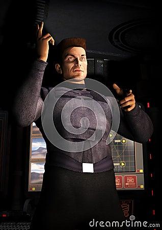 Spaceship officer man