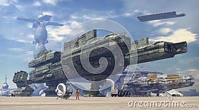 Spaceship at space port