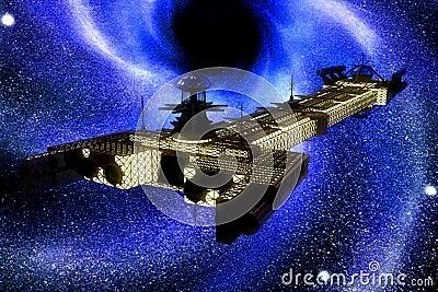 Spaceship and stars