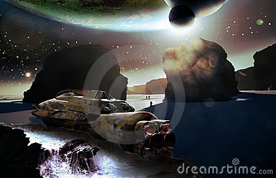 Spaceship wreck on alien planet