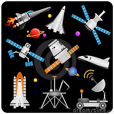 Spaceships and satellites vector