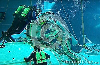 Spacewalk Training in the Hydrolab Pool Editorial Stock Photo