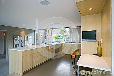 Spacious Kitchen With Outdoor View