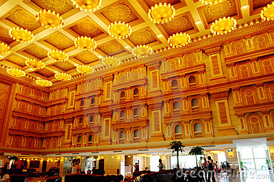 The spacious luxury hotel lobby