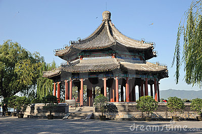 Spacious Pavilion(Kuoru Ting) in Summer palace Editorial Stock Image