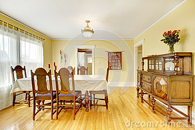 Spacious wood carved dining room