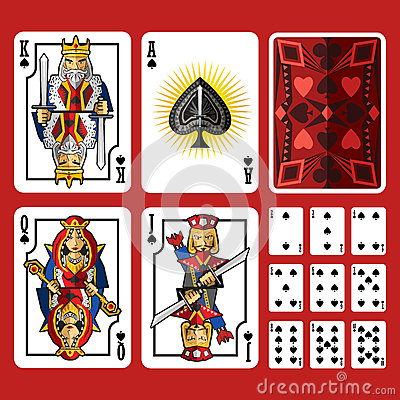 Free Spade Suit Playing Cards Full Set Royalty Free Stock Photo - 58409175