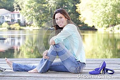 Spadek jeziora kobieta