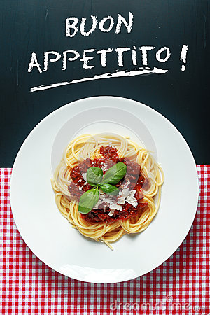 Free Spaghetti Bolognaise With Buon Appetito Sign Stock Photography - 45448542