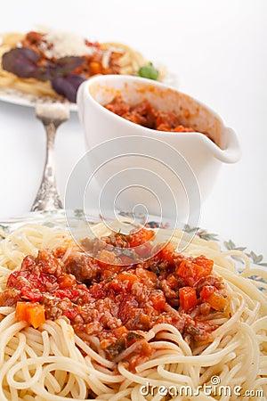 Spaghetti bolognese and a sauce boat
