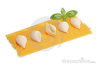 Spaghetti and conchiglie with basil
