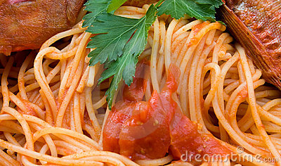 Spaghetti With Fish - Closeup