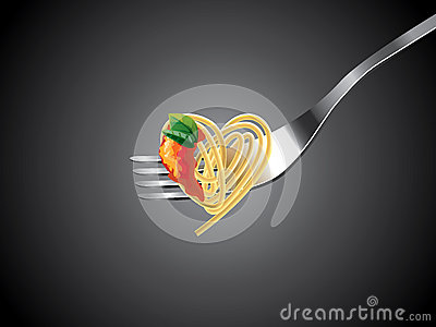 Spaghetti on fork with tomato sauce and basil