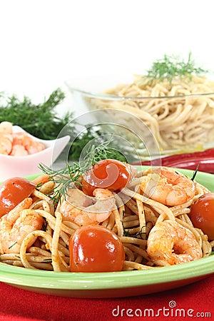 Spaghetti with fresh shrimp