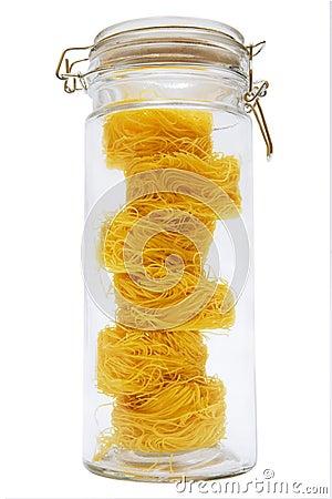 Spaghetti in glass jar