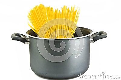 Spaghetti inside a pot