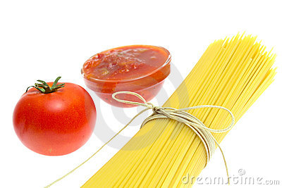 Spaghetti of isolated on white