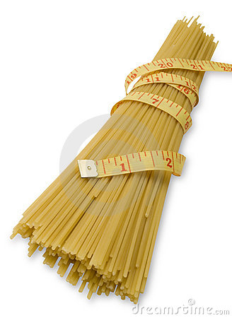 Spaghetti with measuring tape. Diet concept