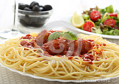 Spaghetti meat balls  with tomato