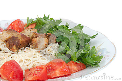 Spaghetti with meat and vegetables