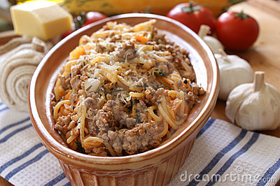 Spaghetti with mince meat and tomato sauce