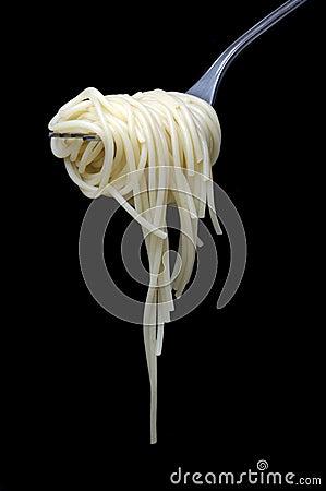 Spaghetti over black
